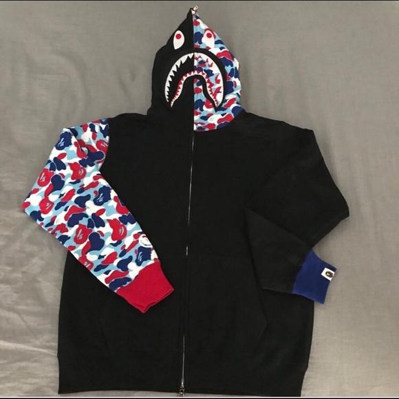 80076451a Bape Sweaters | Paris City Camo Shark Hoodie | Poshmark